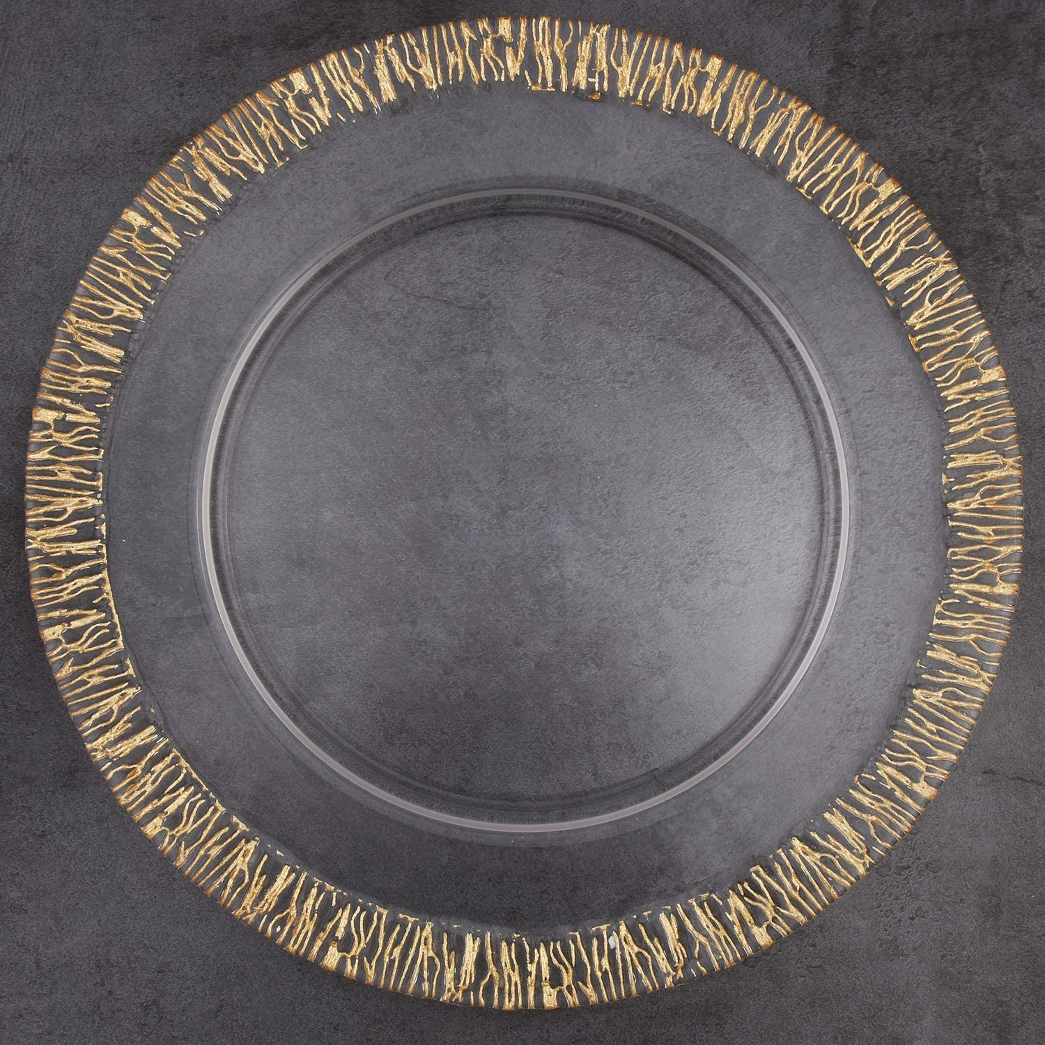 """ALINK Glass Charger Plates 13"""" Clear Rim Time sale Cheap mail order specialty store Gold Dinner for"""