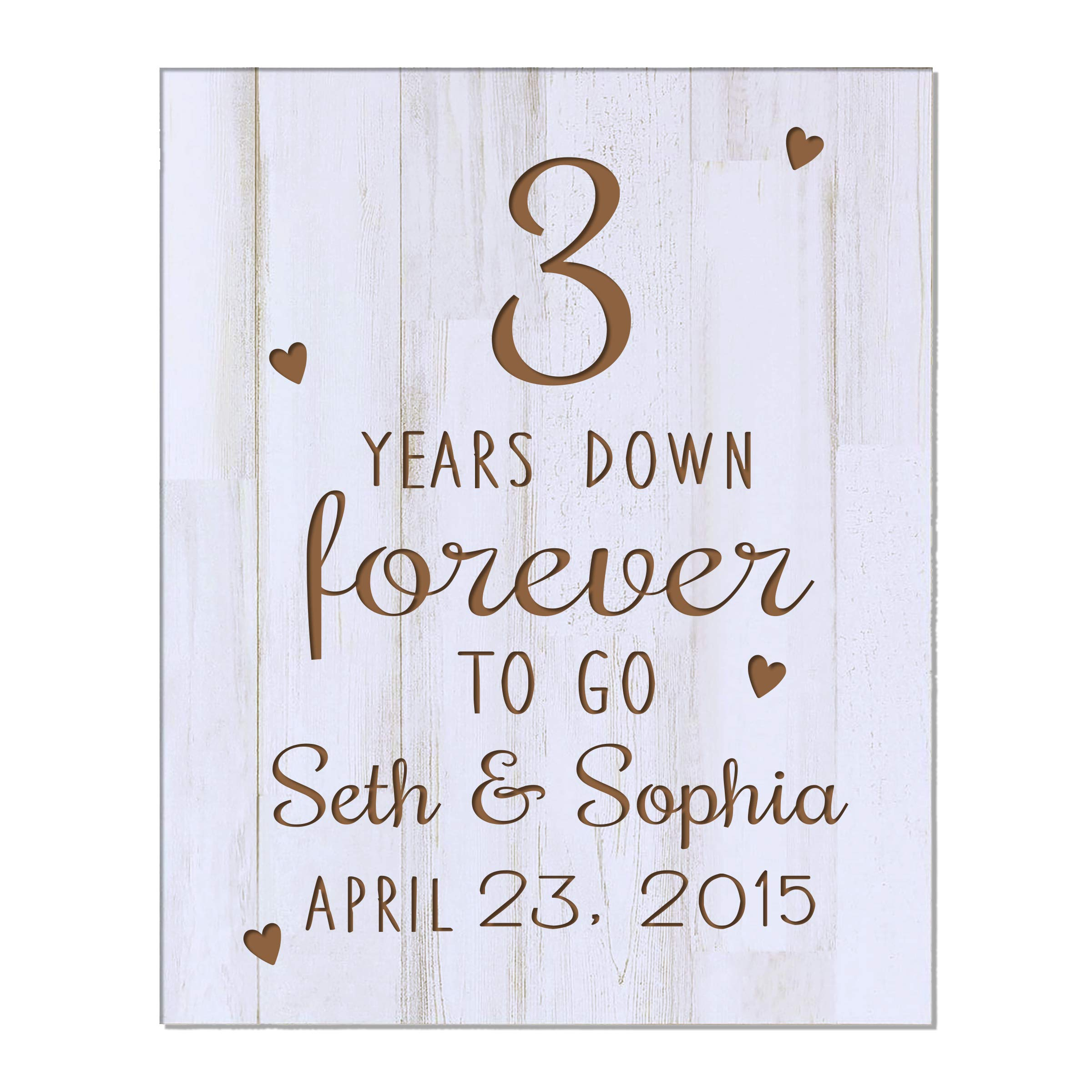 LifeSong Milestones 3rd for Couples Personalized Name and Date Plaque 3 Years of Marriage - Three Year Wedding Gift for Parents Him Her Husband Wife (Three Years Down White) by LifeSong Milestones