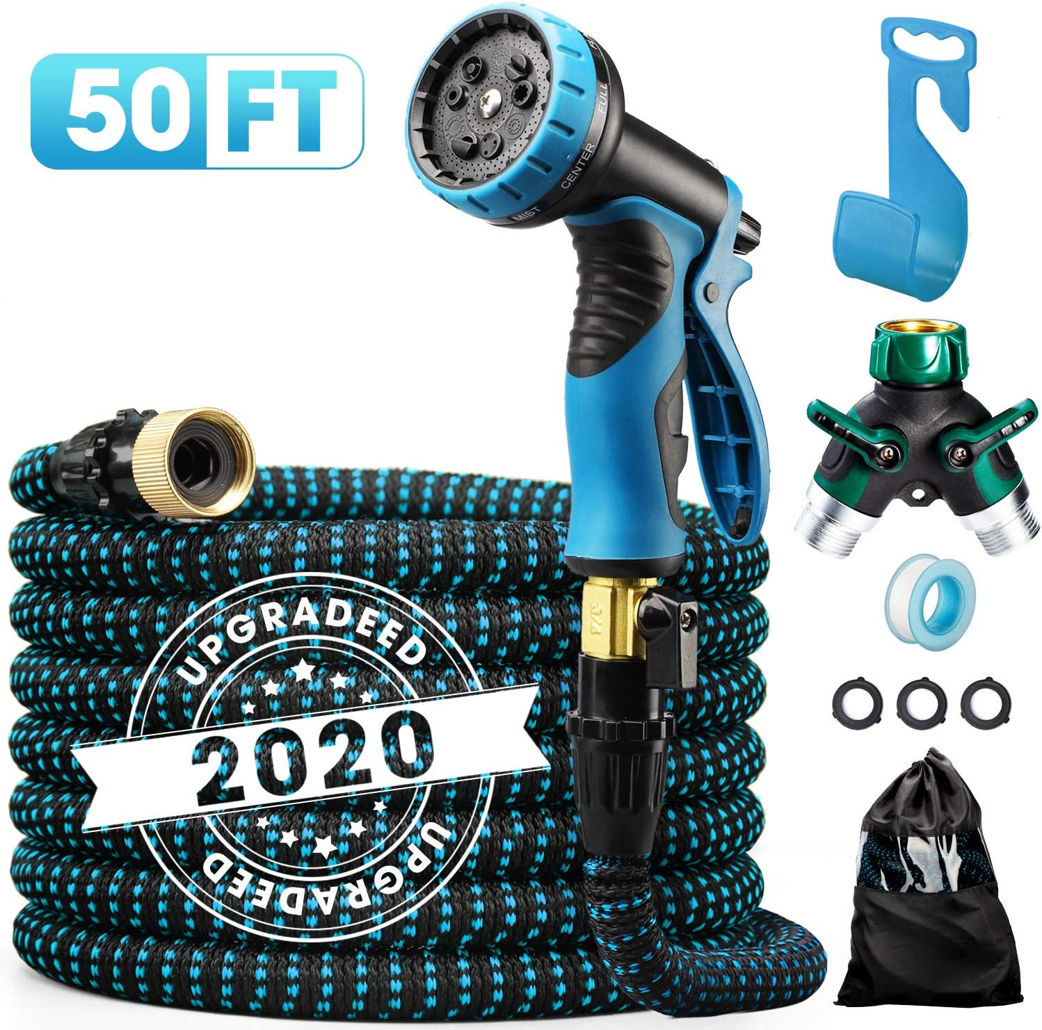 "Delxo 2020 Upgrade 50FT Expandable Garden Hose Water Hose with 9-Function High-Pressure Spray Nozzle, Heavy Duty Flexible Hose, 3/4"" Solid Brass Fittings Leakproof Design"