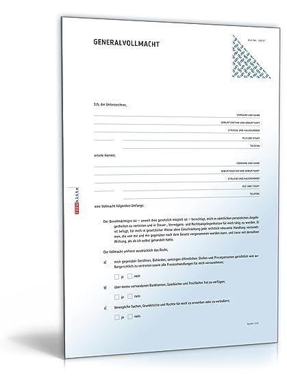 generalvollmacht doc vollmacht fr die rechtsverbindliche willenserklrung download amazonde software - Generalvollmacht Muster Kostenlos