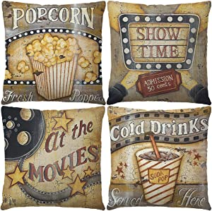 """7COLORROOM Set of 4 Vintage Cinema Pillow Cover Movie Theater with Popcorn/Filmstrip/Cold Drinks Pattern Cushion Cover Retro Home Decorative Cotton Linen Pillowcases 18""""X 18"""" for Sofa Couch (Popcorn)"""