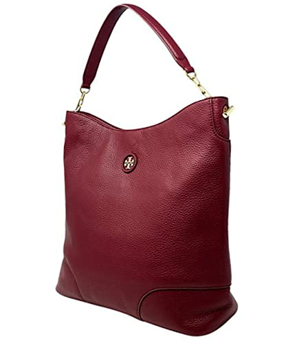 c76a4f854501 Image Unavailable. Image not available for. Color  Tory Burch Red Agate  Whipstitch Pebbled Leather Logo Hobo Leather Handbag