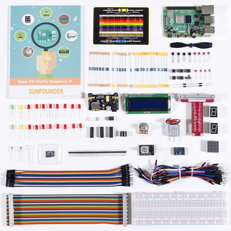 SunFounder Raspberry Pi 4 3B+ Starter Kit Project Super Kit for RPi 4B 3B+ 3B 2B, Including GPIO Breakout Board Breadboard LCD DC Motor LED RGB Dot Dot Matrix, Raspberry Pi 4 Model B Board Included