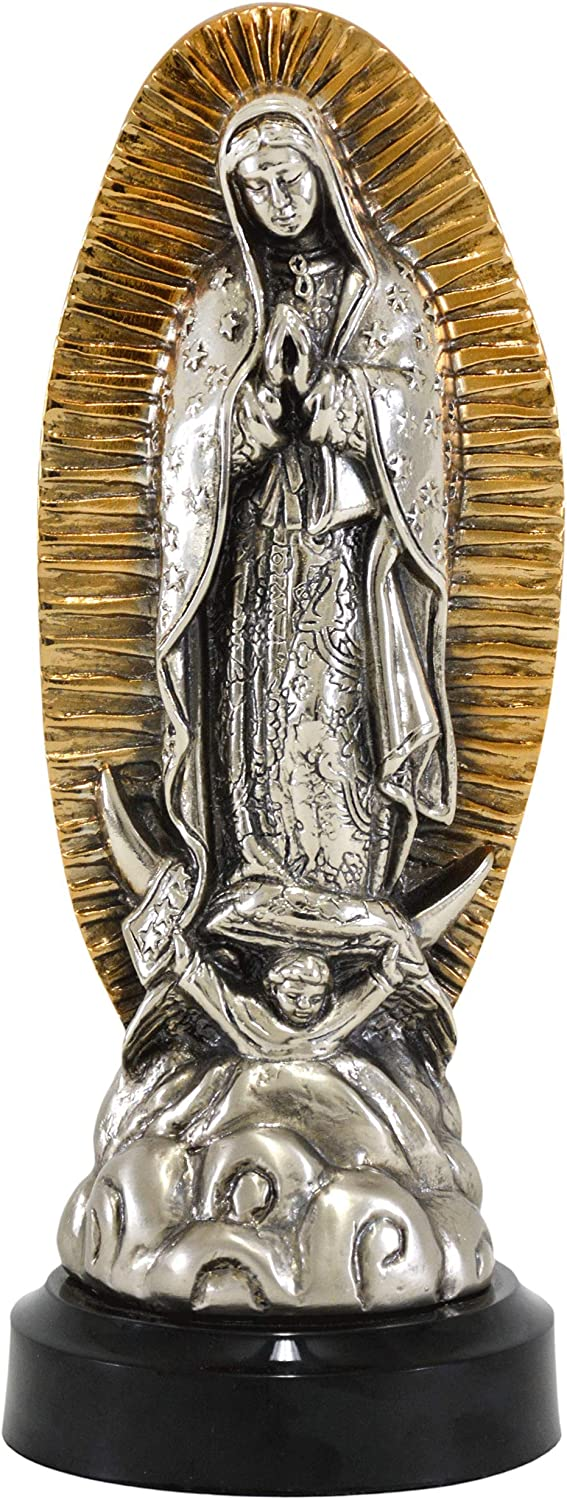 High-End Decor - Our Lady of Guadalupe Virgin Mary Statue - Estatua Virgen de Guadalupe - Religious Art Home Metallic Decoration - Nickel/Brass (9.5 inches)