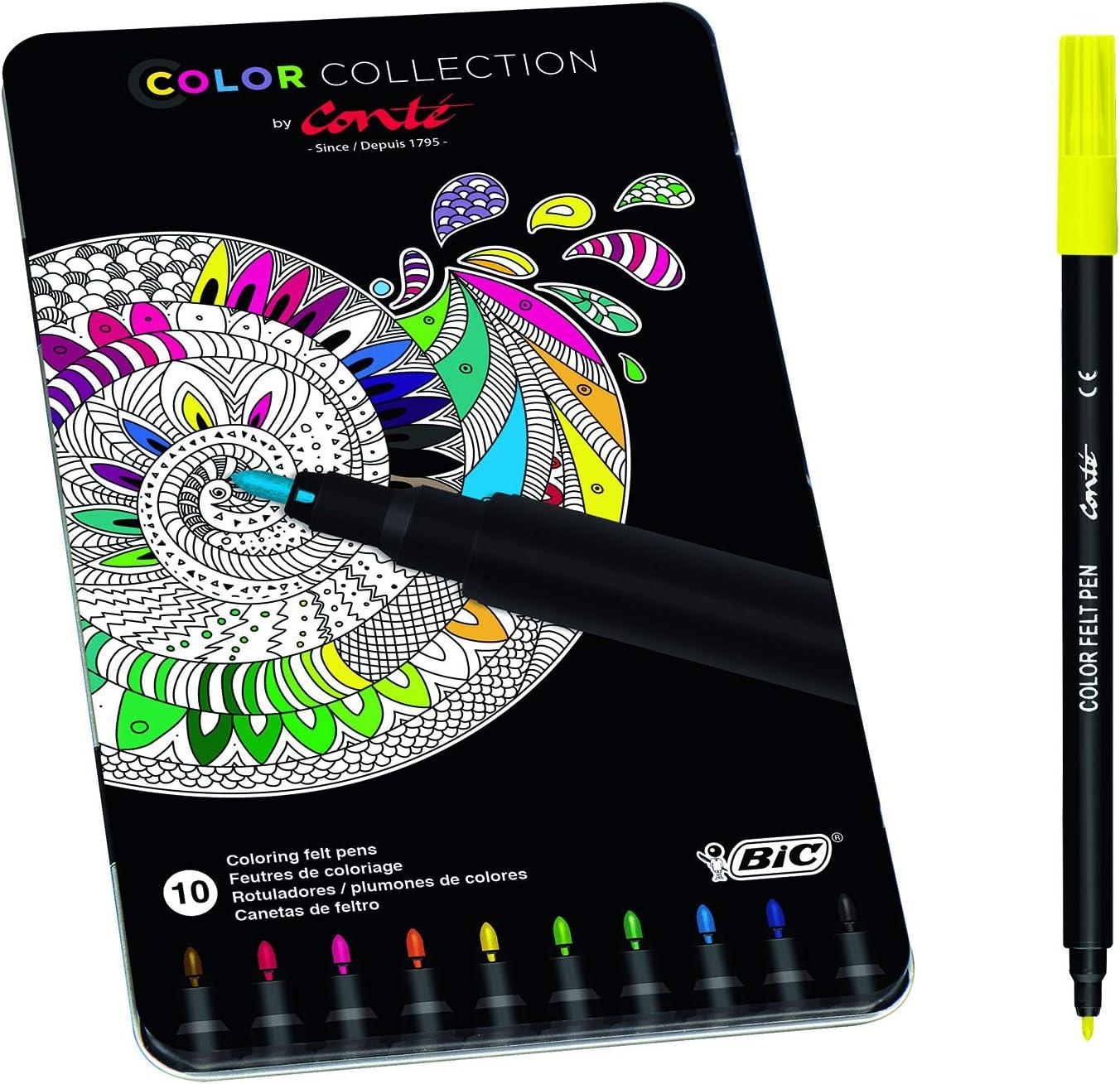 Conté rotuladores – colores Surtidos, Edición Limitada con Estuche Metálico de 10 unidades: Amazon.es: Oficina y papelería