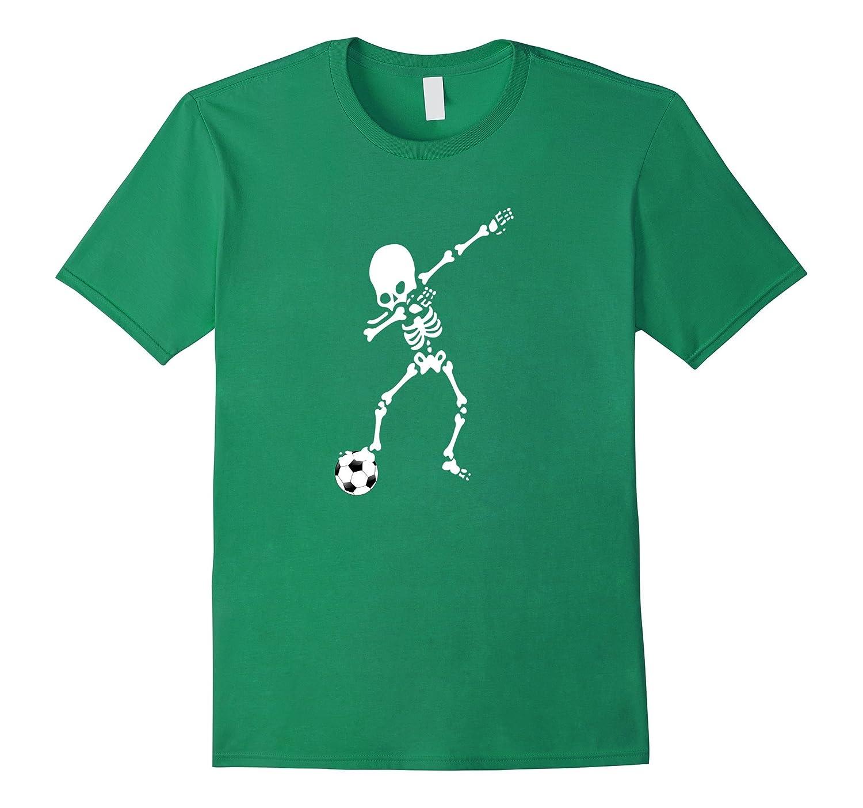 Soccer Ball Skeleton Dabbing Funny Halloween Tshirt Dab-T-Shirt