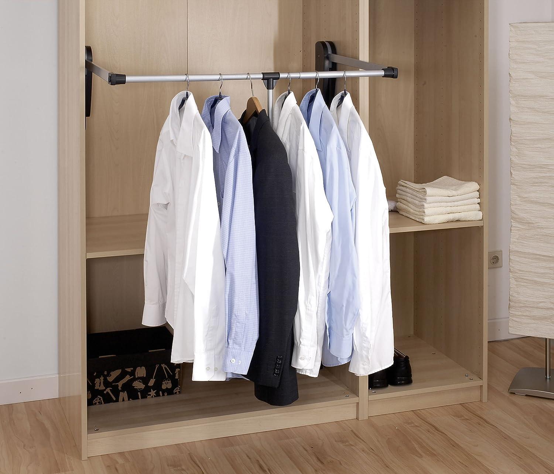 Wenko Garderobenlift schwenkbare Kleiderstange 87-130 x 86,5 cm silber matt