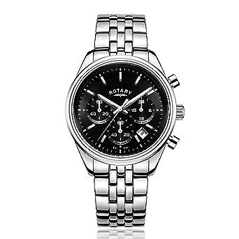 rotary men s quartz watch black dial chronograph display and rotary men s quartz watch black dial chronograph display and silver stainless steel bracelet gb00350