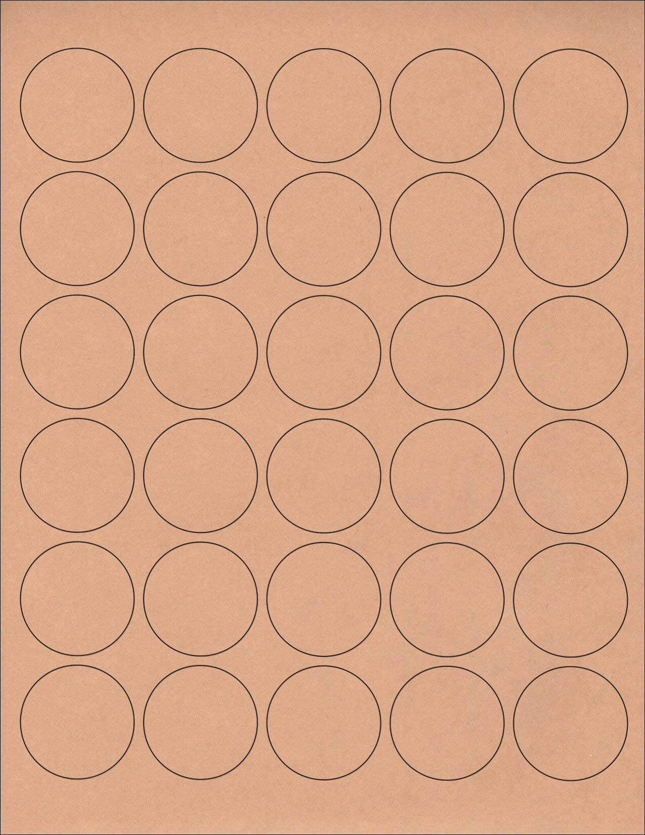 (36 SHEETS) 1080 1-1/2'' Blank Round Circle Brown KRAFT Stickers for Inkjet & Laser Printers. Size: 8-1/2''x11'' Standard Sheets