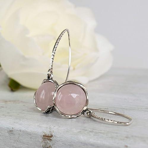 Rose Quartz Gemstone Sterling Silver Heart Teardrop Earrings