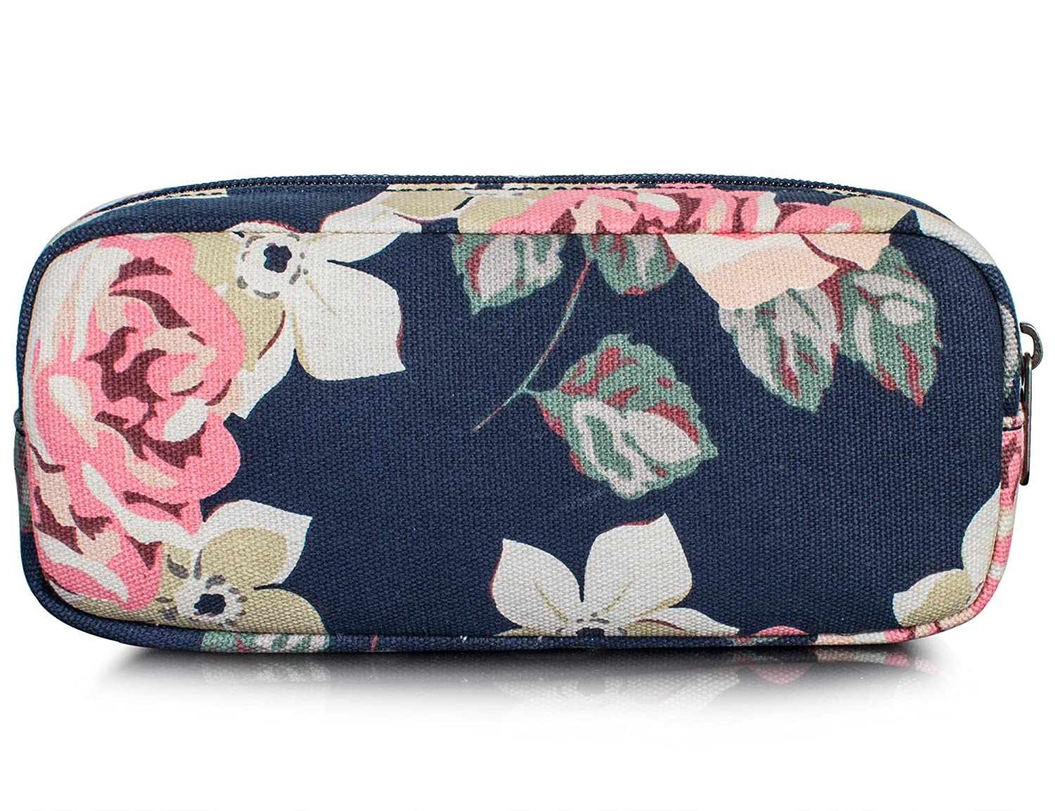 Leaper Floral Pen Pencil Case Coin Purse Pouch Cosmetic Makeup Bag Dark Blue
