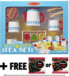 Steep & Serve Tea Set: Wooden Play Food Set + FREE Melissa & Doug Scratch Art Mini-Pad Bundle [98434]