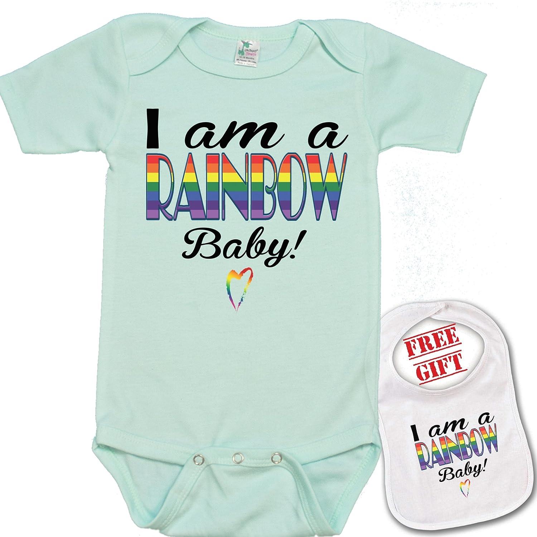 9afdcdc2b Amazon.com: I am a Rainbow Baby unique Baby bodysuit onesie by Igloo &  matching bib: Clothing