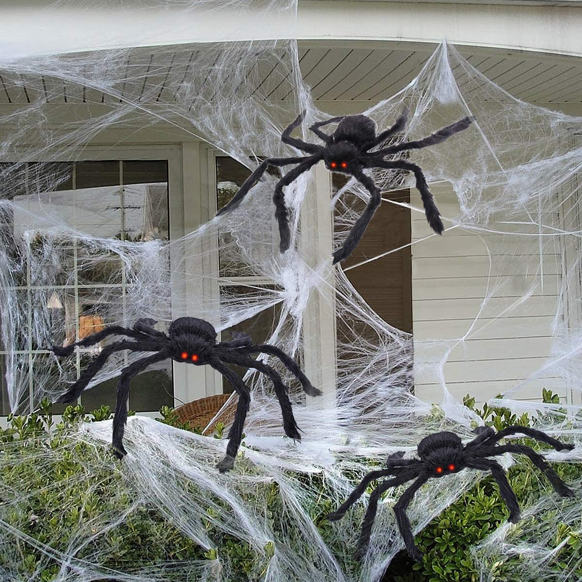Halloween Spider Decorations for Outdoor Halloween Decorations, Indoor Haunt House Decor with Scary LED Red Eyes 75cm