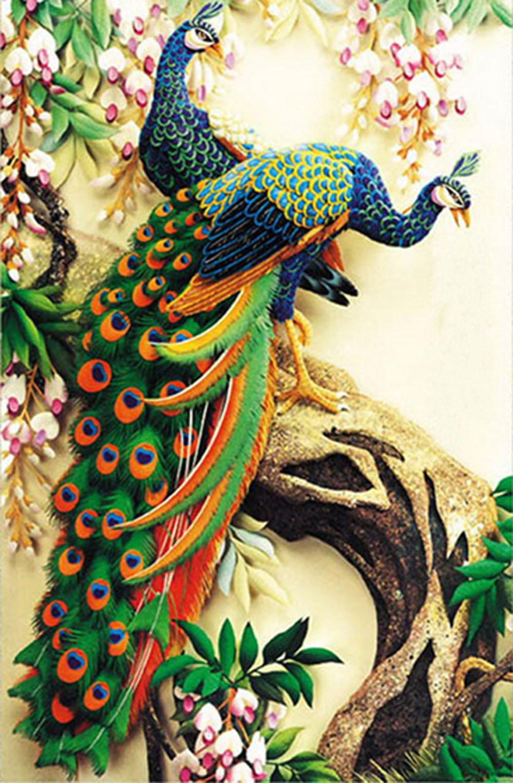 ZHENC Double Peacock Flower Tree Animals 5D DIY Full Square Diamond Painting Embroidery Full Drill Craft Decor Cross Stitch Kits by ZHENC
