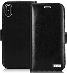 """FYY [Premium Leather Wallet Case for Apple iPhone Xs Max (6.5"""") 2018, Handmade Flip Folio Wallet Case with Kickstand Card Slots Magnetic Closure for Apple iPhone Xs Max (6.5"""") 2018 Black"""