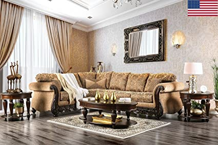 Esofastore Formal Traditional Living Room Sectional Sofa Set Rolled Arms  Intricate Wood Trim Tan Color Chenille