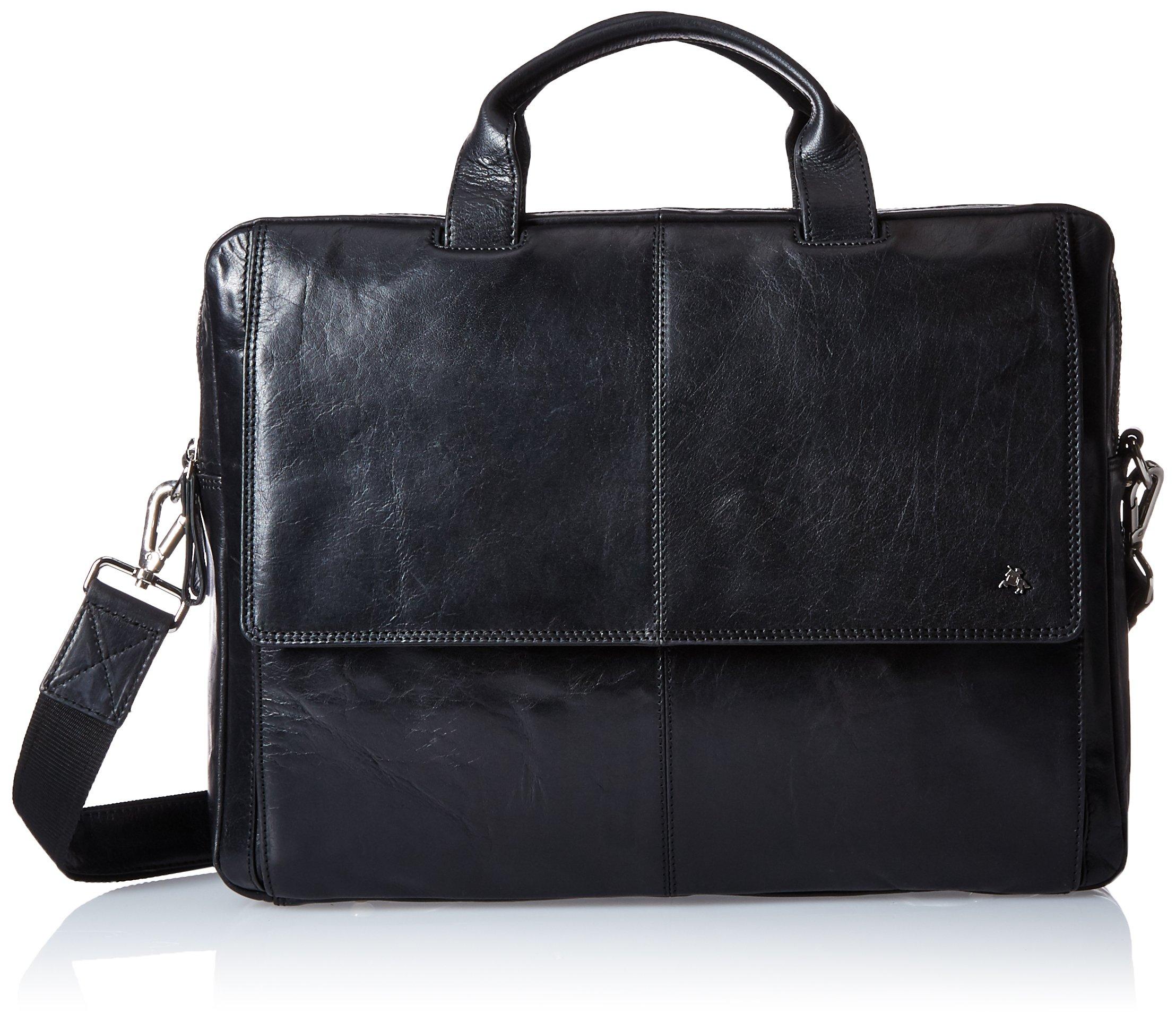 Visconti Leather (Up To 15 Inch) Laptop Computer Case Shoulder Messenger Bag, Black, One Size