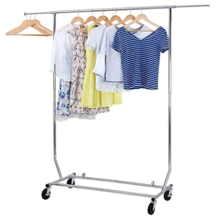 SONGMICS Rolling Garment Rack Collapsible Heavy Duty Clothing Hanging On Lockable Wheels Chrome Finish