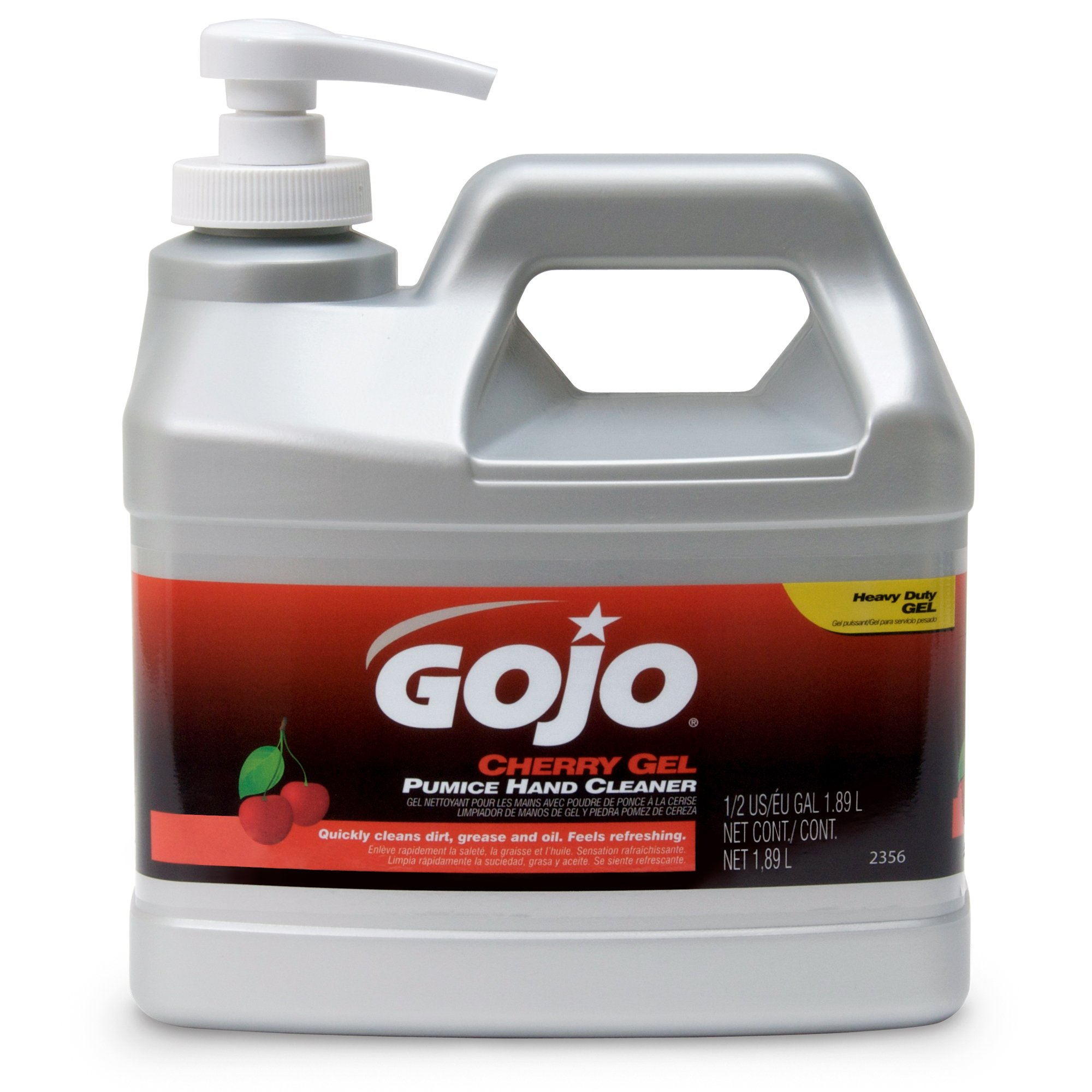 GOJO 2356-04 Cherry Gel Pumice Hand Cleaner, 1/2 Gallon Bottle (Pack of 4)
