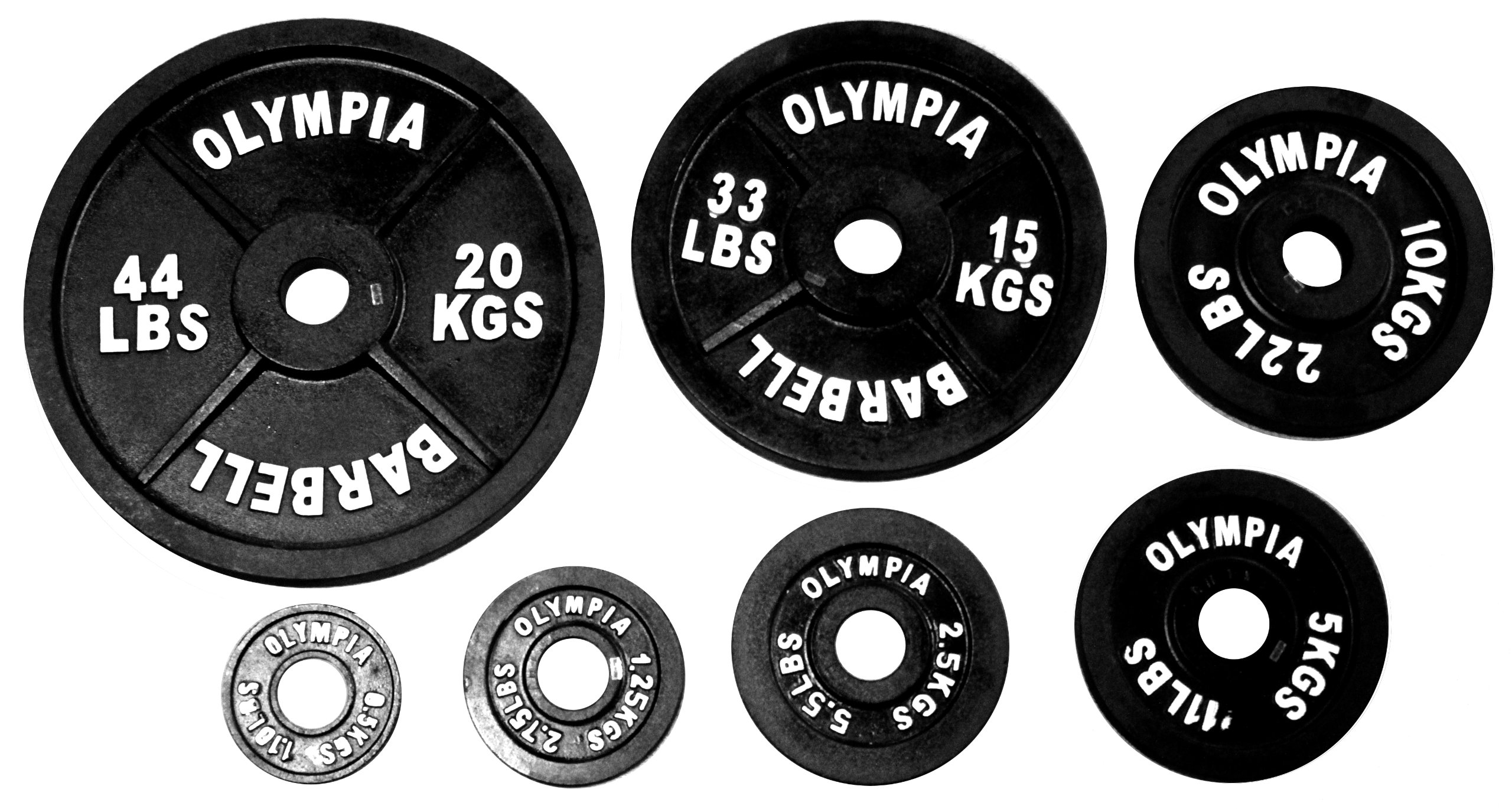 Ader Sports Black Olympic Plate 1.25, 2.5, 5, 10 Lbs 4 Pair (Total 37.5 Lbs)