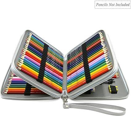 goleap Deluxe piel sintética estuche para lápices de colores – 124 ranura soporte para el lápiz, color gris: Amazon.es: Oficina y papelería