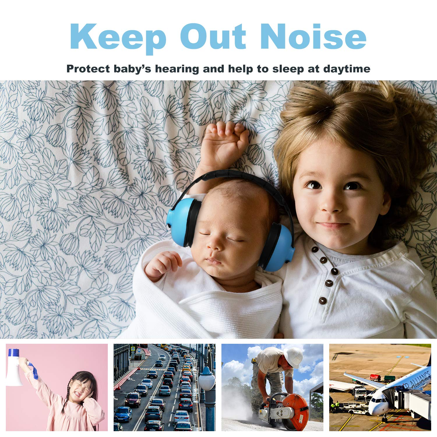 Baby Ear Protection Earmuff Muffs Sound Hearing Noise Airplane Travel for Infant Kids Toddler Newborn Child Babies by JOYNCLEON (Image #5)