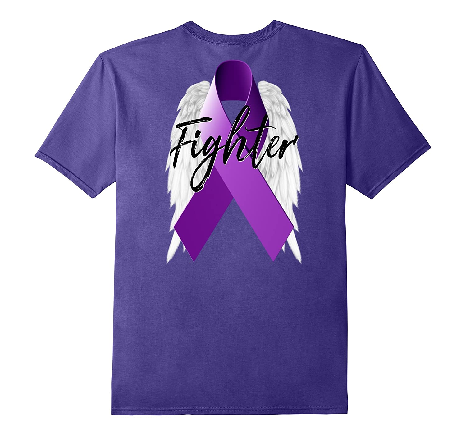 Pancreatic Cancer Fighter Shirt Purple Ribbon Angel Wing-ANZ