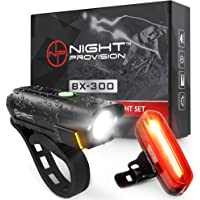 Powerful BX-300 CREE L2 Bike Light Set USB Rechargeable Front Headlight w/Amber Side Alert + Bonus Free Rear LED Bike Light
