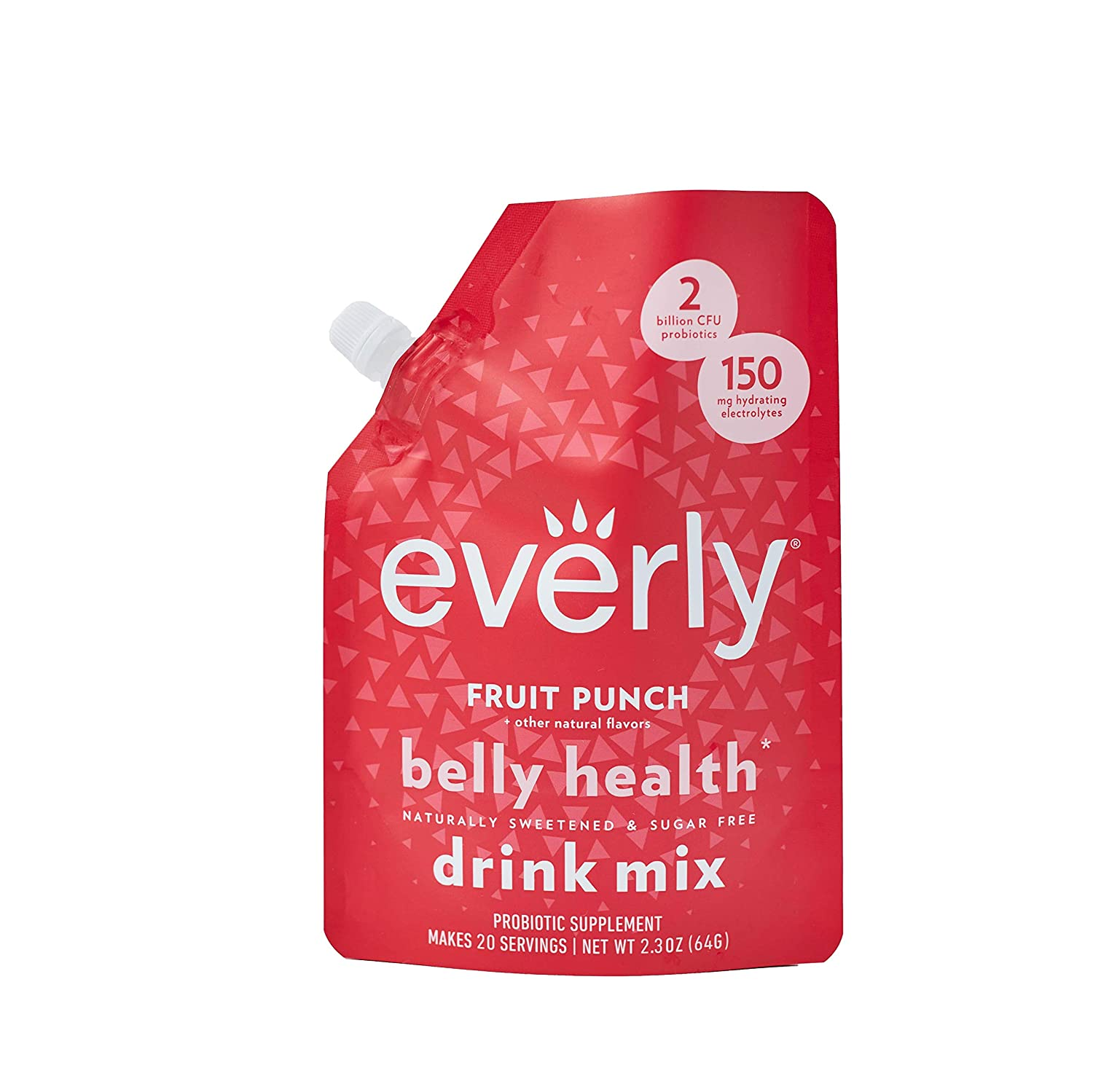 Everly Belly Health - Probiotic Supplement, Sugar Free, Natural Sweeteners (Stevia & Organic Erythritol), No Calories, Water Flavoring & Water Enhancer – Pouch, 20 servings (Fruit Punch)