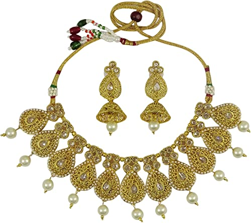 Matra Goldtone Ethnic Indian Women Party 2 Pcs Necklace Earring Set Traditional Jewelry