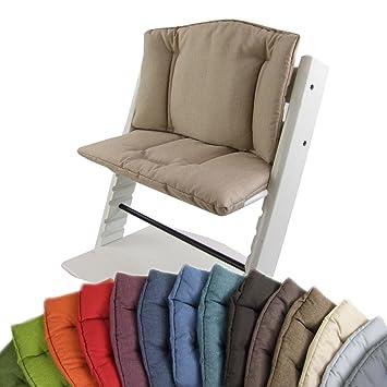 BambiniWelt Cojín de asiento para trona Stokke Tripp Trapp, en 14 colores, jaspeado, asiento de 2 piezas, funda, cojín de repuesto beige beige
