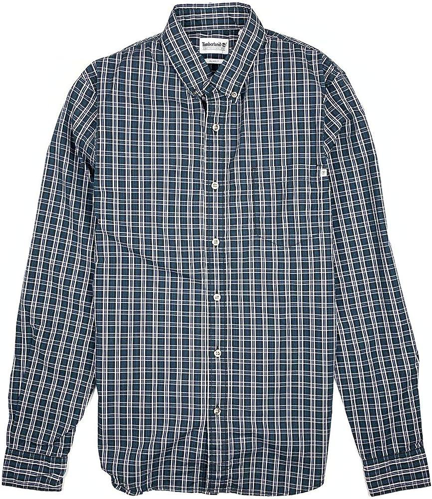 Timberland Camisa de Manga Larga para Hombre, Ajustada, a Cuadros, con Botones - Negro - Small: Amazon.es: Ropa y accesorios