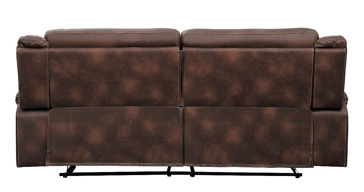 "Homelegance Keridge 85"" Reclining Sofa, Brown"