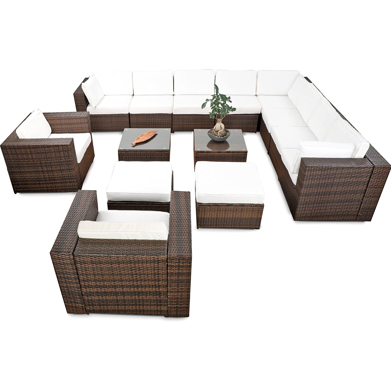 erweiterbares 41tlg. Polyrattan XXXL Lounge Set - braun-mix - Garnitur Gartenmöbel Sitzgruppe Lounge Möbel Set - inkl. Lounge Ecke + Sessel + Hocker + Tisch + Kissen