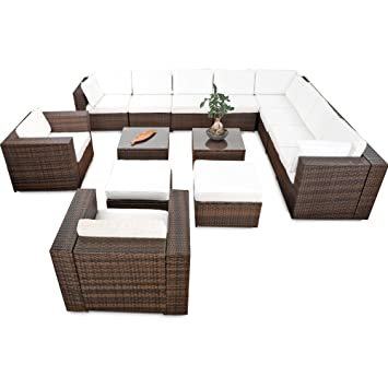 41tlg. XXXL Lounge Set Polyrattan für Balkon und Terrasse ...