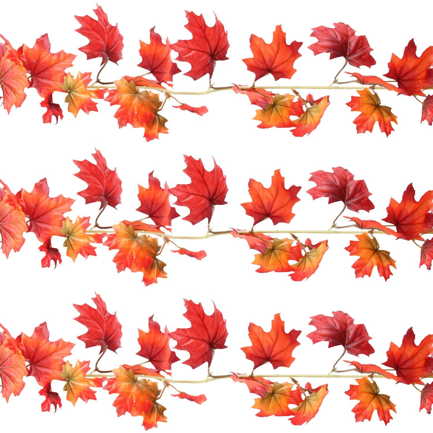 Sunshane 5.9 Feet Fall Garland Artificial Maple Leaf Garland Autumn Thanksgiving Party Room Decoration (3 Pack)