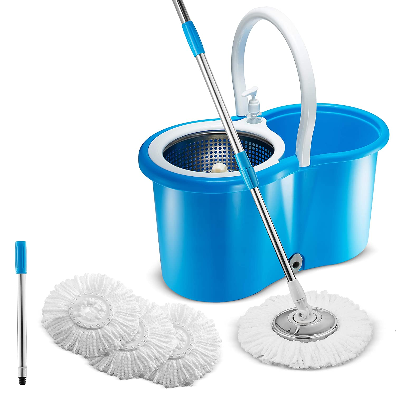 Premium All In One Stainless Steel 360 Spin Mop & Bucket System ~ Self-Wringing Mop With 3 Microfiber Mop Heads ~ Extended Length Adjustable Mop Pole with Stainless Steel Mop Plate Cleager CSMB1B