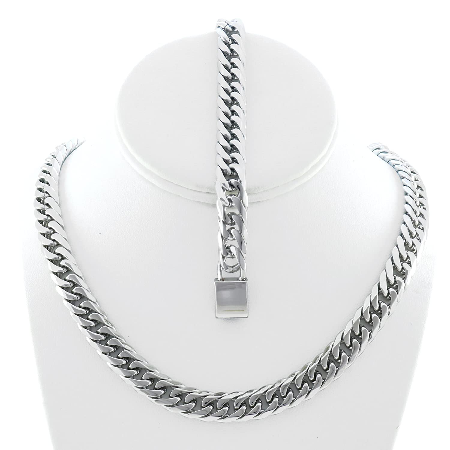 Solid Silver Finsh Stainless Steel 12mm Thick Miami Cuban Link Chain Necklace & Bracelet Set 24''