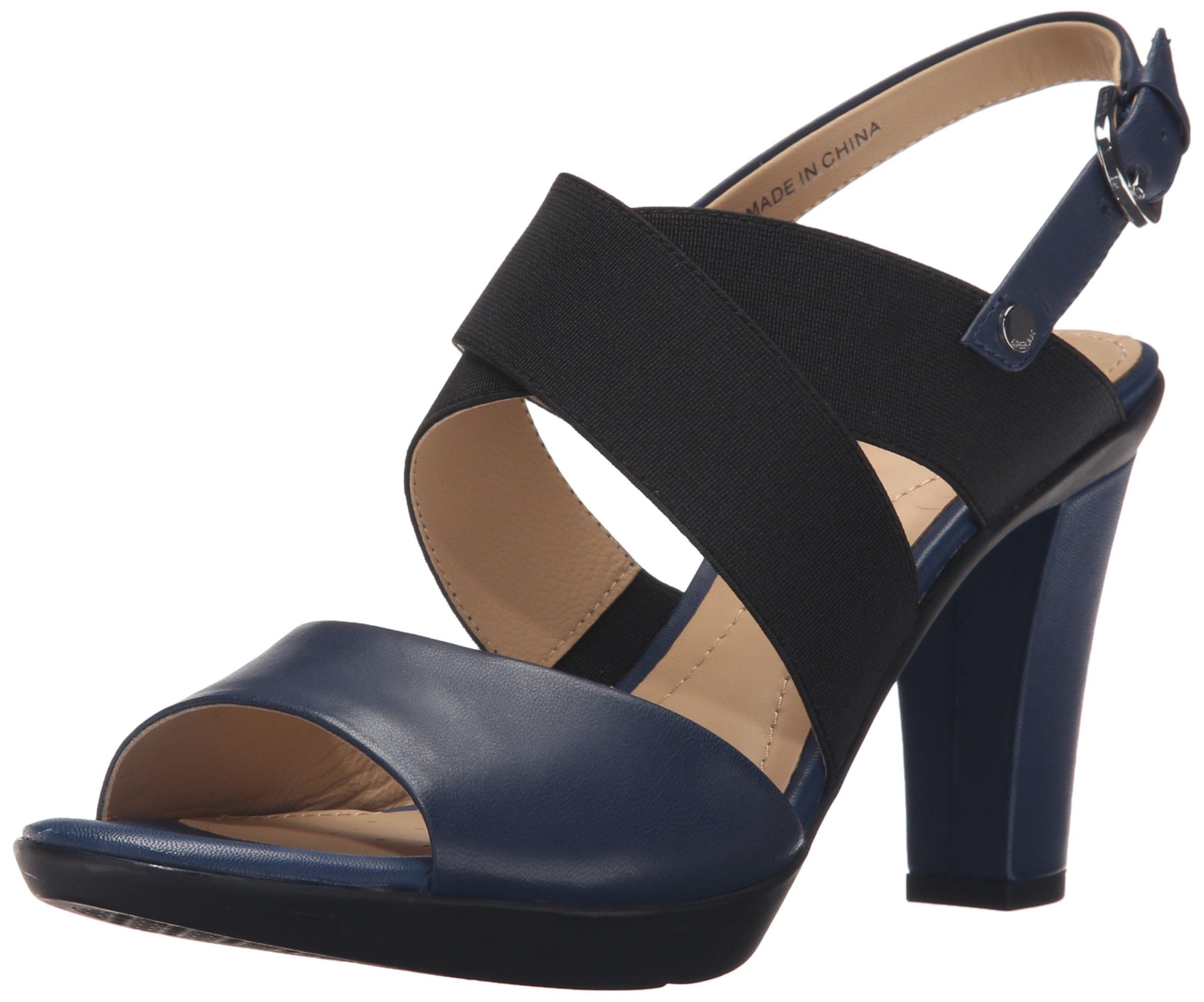 Geox Women's D Jadalis Dress Sandal, Dark Royal/Black, 38.5 EU/8.5 M US
