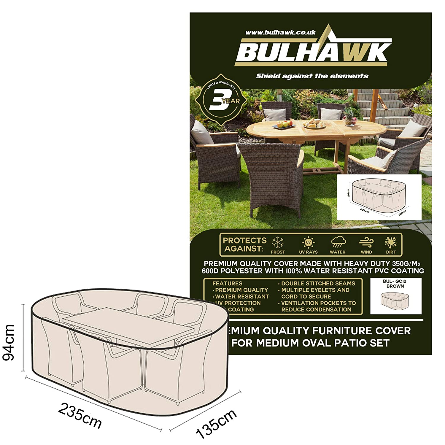 Bulhawk® Oval Patio Garden Table and Chairs Furniture Cover (235x135x94cm) Superior Protection | Heavy Duty Premium Quality | 100% Waterproof | Brown or Grey (Brown)