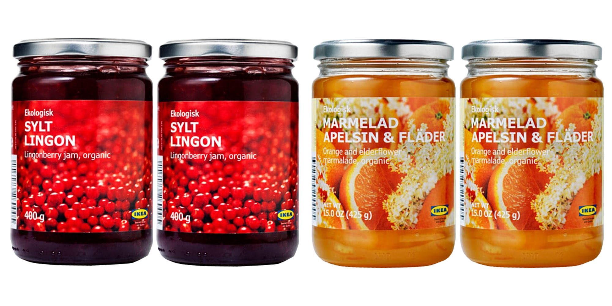 Ikea Organic Jam Bundle - Includes Total 4 Preserves - 2 SYLT LINGON Lingonberry Organic Preserves and and 2 MARMELAD APELSIN & FLÄDER Orange & elderflower organic Marmalade. by IKEA