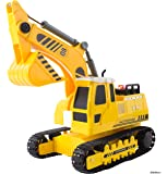 Memtes Friction Powered Excavator Tractor Toy Truck with Lights and Sounds for Kids