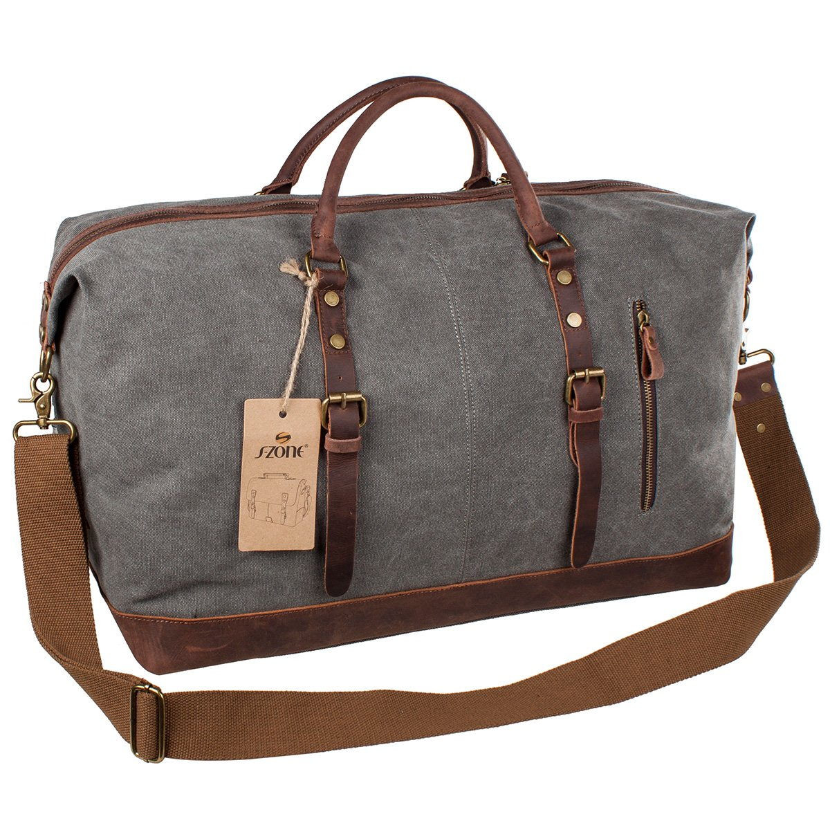s zone mens canvas leather holdall travel duffle overnight weekend satchel bag ebay. Black Bedroom Furniture Sets. Home Design Ideas