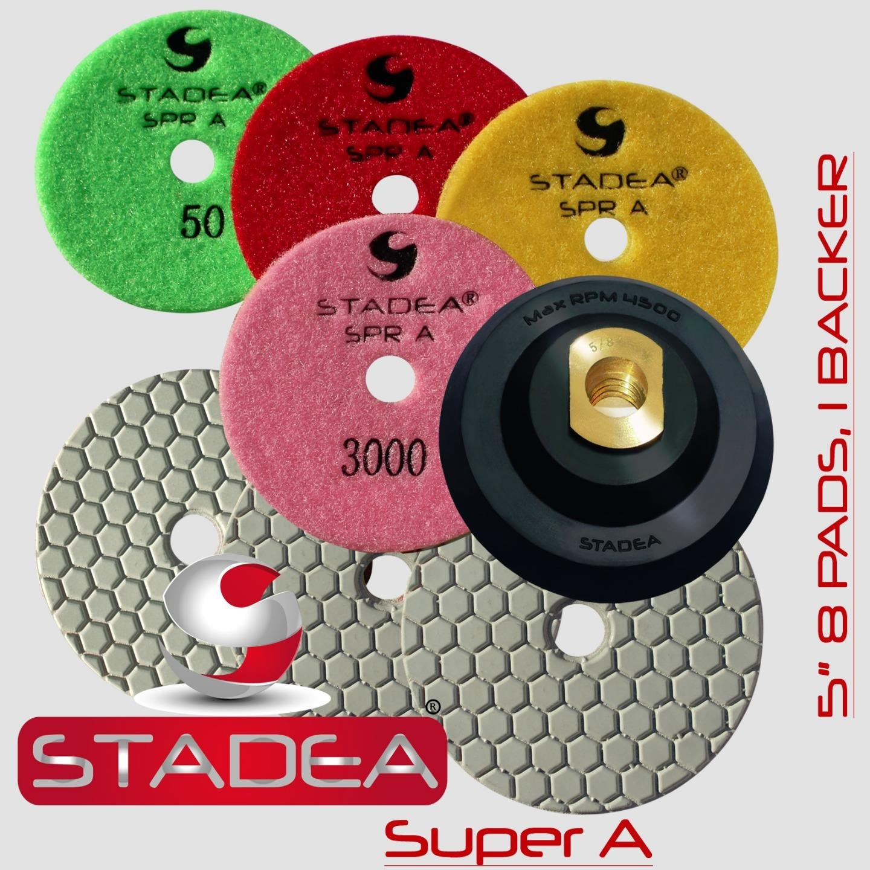 STADEA Diamond Polishing Pads 5'' Dry - Set of 8 with Rubber Backer Holder