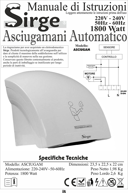 Sirge - Secador de manos de pared, automático y eléctrico, 1800 W - Aparato de aire caliente con célula fotoeléctrica - Ideal para hotel, bar, hostal, casa, ...