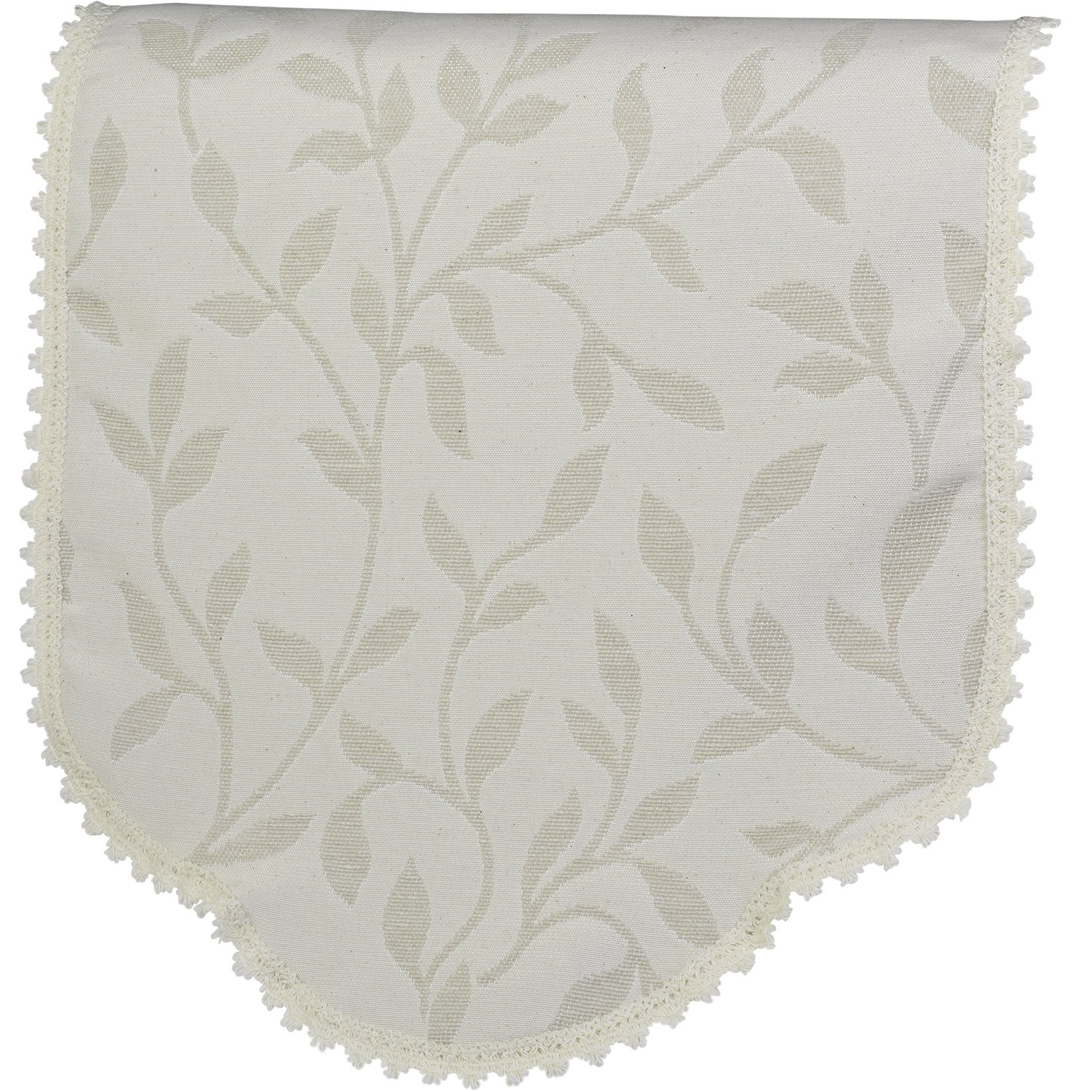 Decorative Pair of Jumbo Round Arm Caps Floral Leaf Pattern Furniture Cover (Cream) Classic Home Store