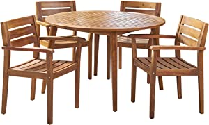 Christopher Knight Home 305307 Keth Outdoor 5 Piece Acacia Wood Dining Set, Teak Finish