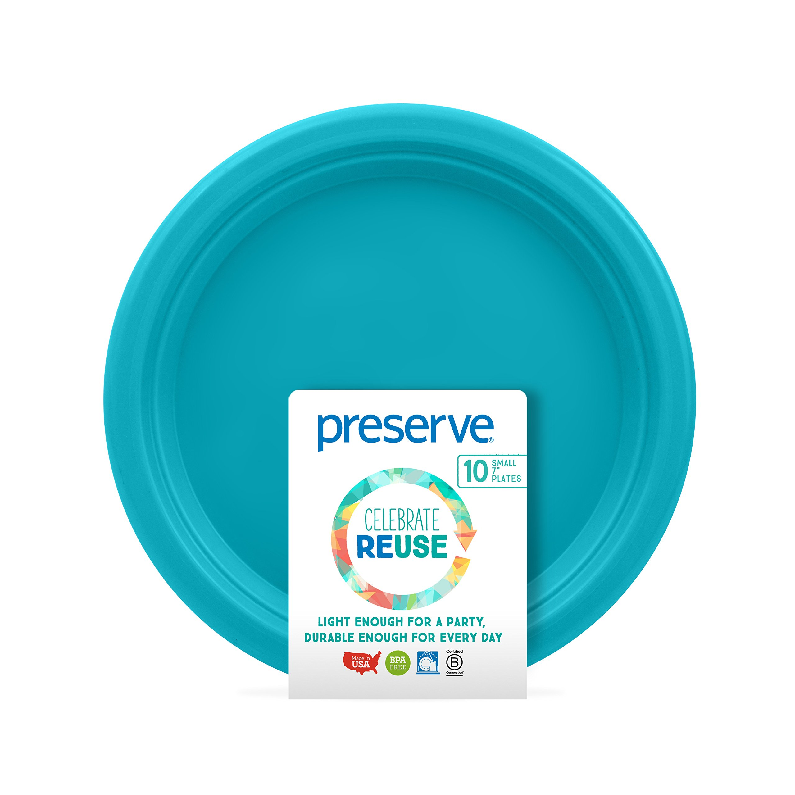 Preserve On the Go Plates (Set of 10), Aqua, Small