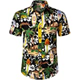 JOGAL Mens Paisley Bandana Print Hawaiian Shirt